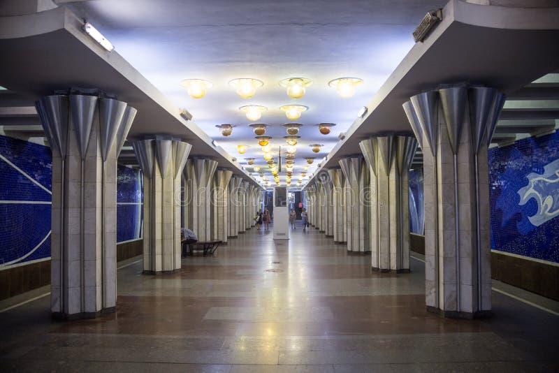 Samara, Rusland - Augustus 06, 2016: Binnenland van een metropost Gagarinskaya Geen mensen symmetrie royalty-vrije stock afbeeldingen