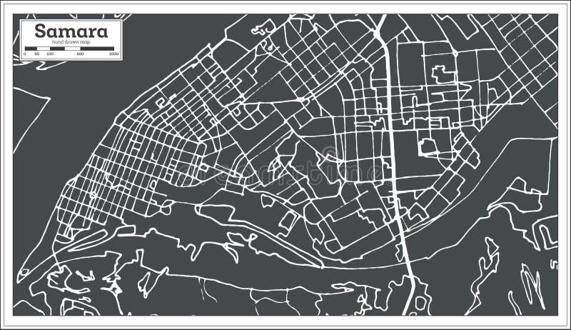 Samara Russia City Map im Retrostil Antilocapra Americana stock abbildung