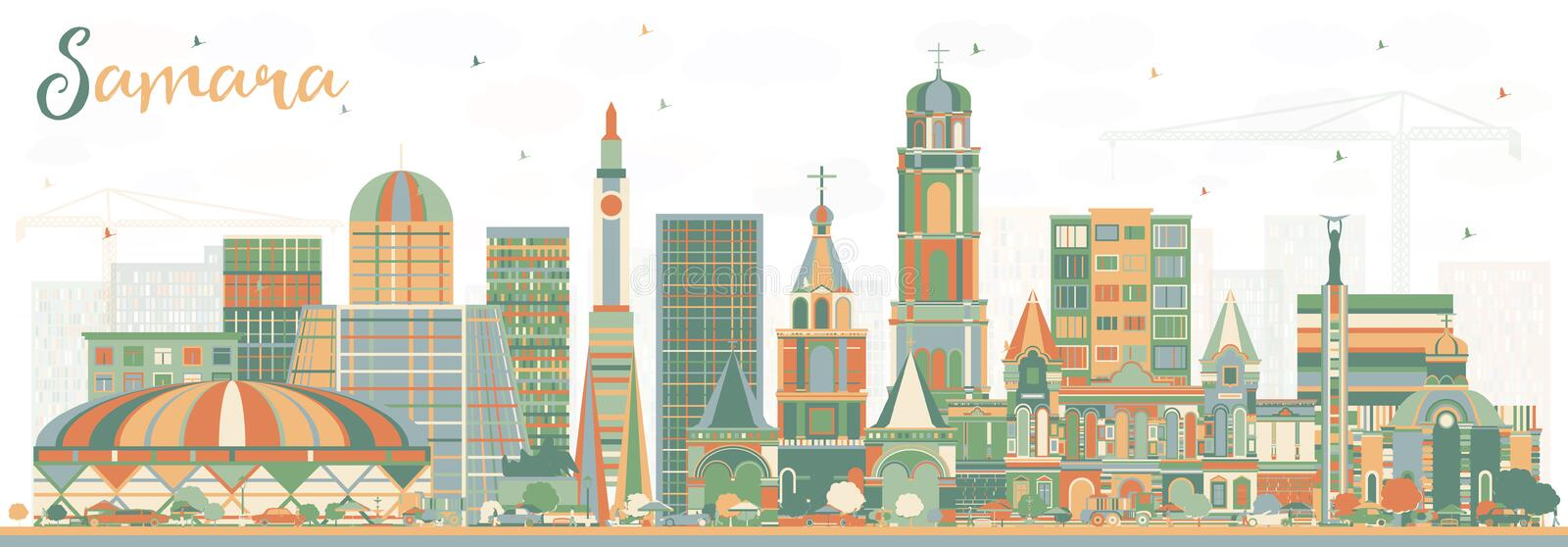 Samara Russia City Skyline med färgbyggnader royaltyfri illustrationer