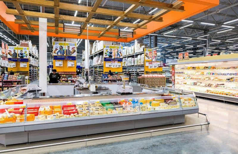 Interior of the hypermarket Lenta. Samara, Russia - December 15, 2017: Interior of the hypermarket Lenta. One of largest food retailer in Russia royalty free stock image