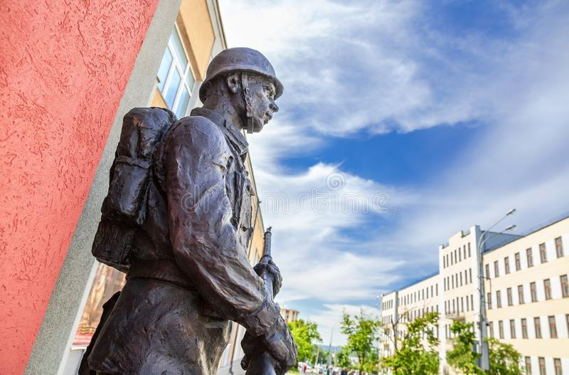 Fragment sculpture of the soldier of the Red Army stock photos