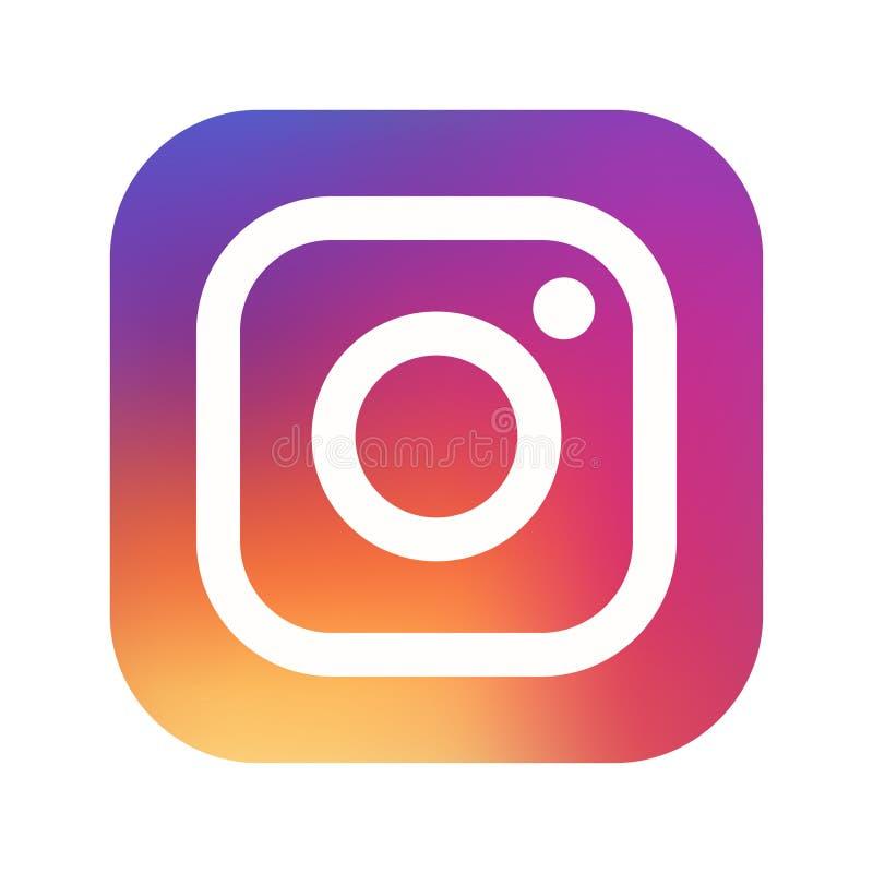 Samara, Russische Federatie - 1 Augustus, 2018: Redactieanimatie Het pictogram van het Instagramembleem Instagram populairste soc royalty-vrije illustratie