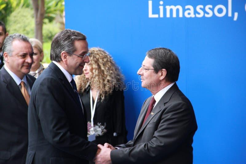 Samaras et Nicos Anastasiades d'Antonis image libre de droits