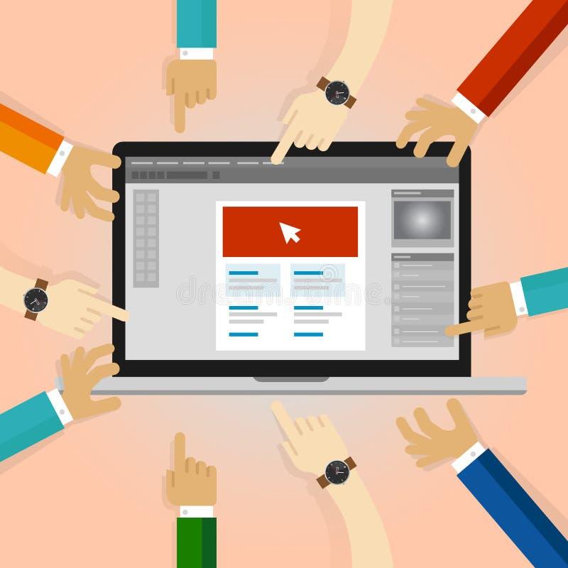 Samarbete för grafisk design för klientgranskning många händer som arbetar på applikation i bärbar dator revidering för kommentar stock illustrationer