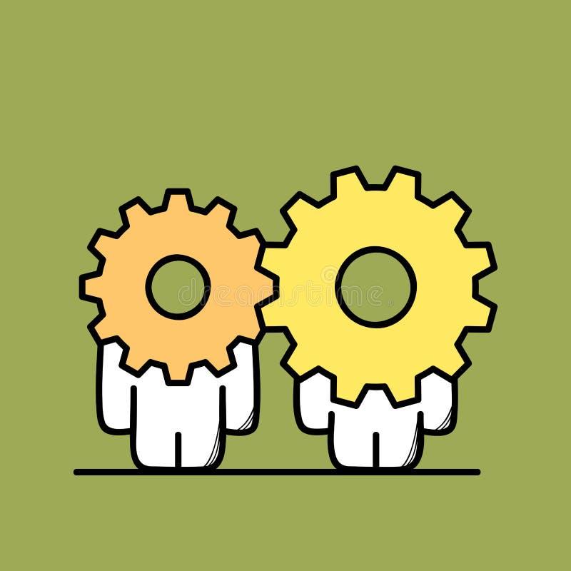 Samarbete och kugghjulhjul vektor illustrationer