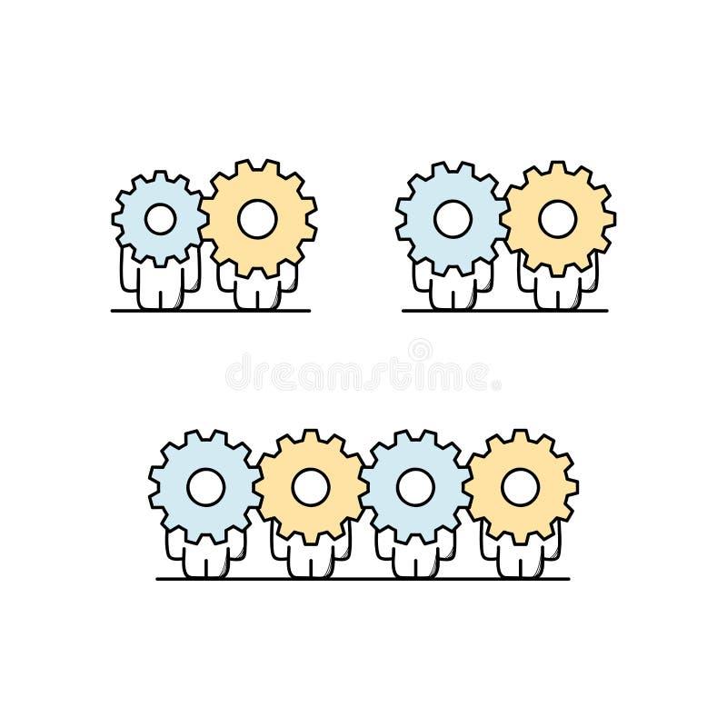 Samarbete och kugghjulhjuluppsättning stock illustrationer