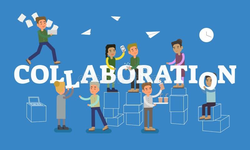 Samarbetsbegreppsplats med tittle- och kontorsfolk som tillsammans arbetar i begreppsmässigt arbetsställe Plan vektorillustration vektor illustrationer