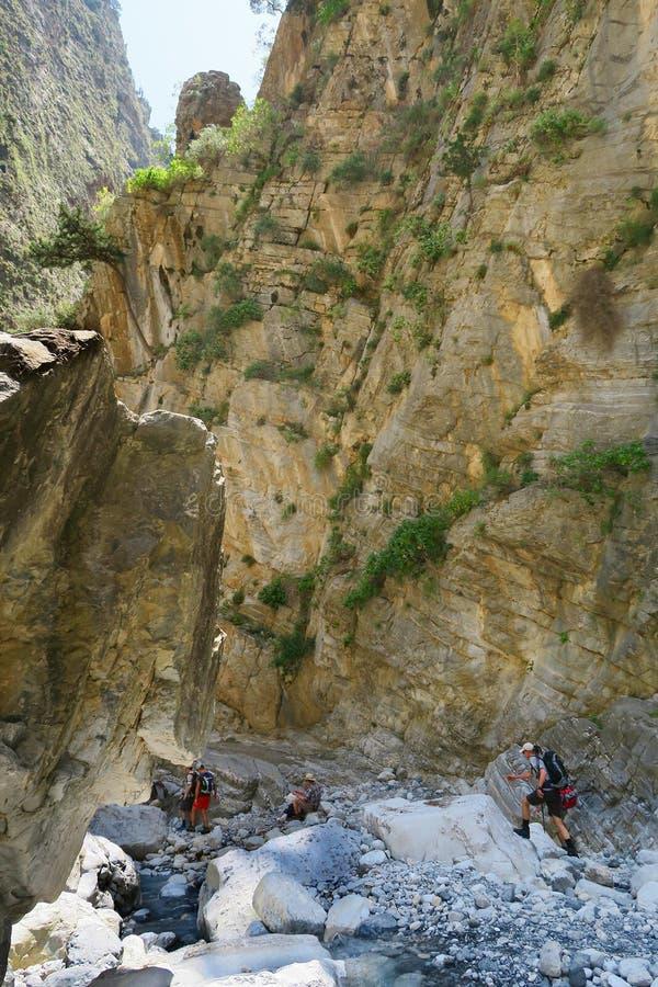 Samaria Gorge at Crete Greece hiking path stock image