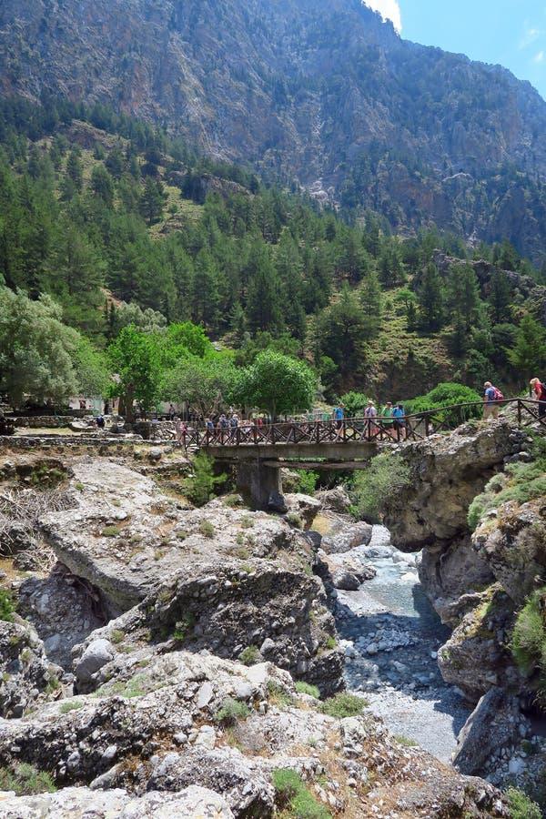 Samaria Gorge at Crete Greece hiking path royalty free stock photos