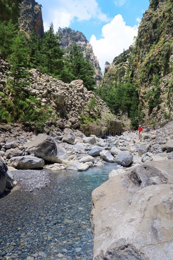 Samaria Gorge at Crete Greece hiking path royalty free stock photo