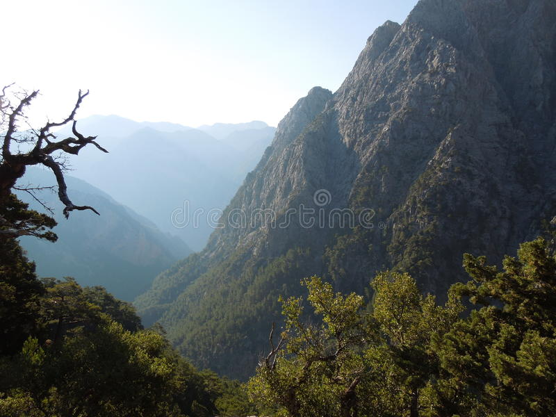 Samaria gorge. Entrance to the biggest Europe gorge on the Crete island royalty free stock photography
