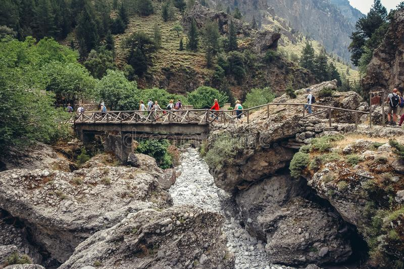 Samaria Gorge in Greece stock images