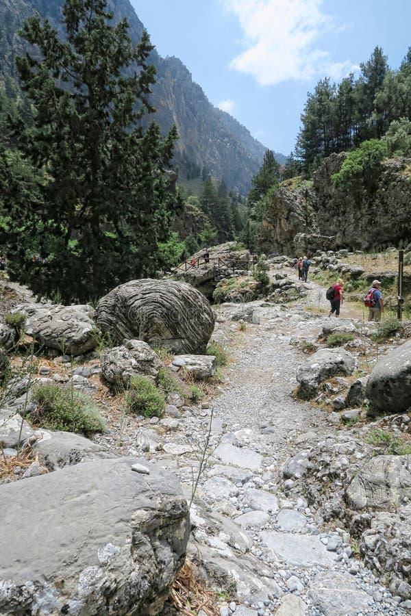 Samaria Gorge landscape at Crete, Greece. People hiking along t royalty free stock photo