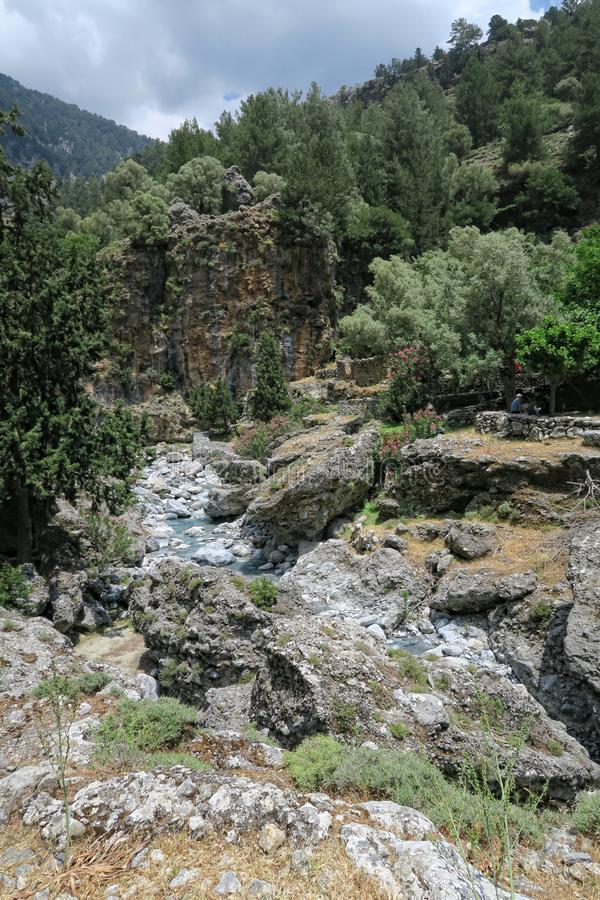 Samaria Gorge landscape at Crete, Greece. People hiking along th royalty free stock images