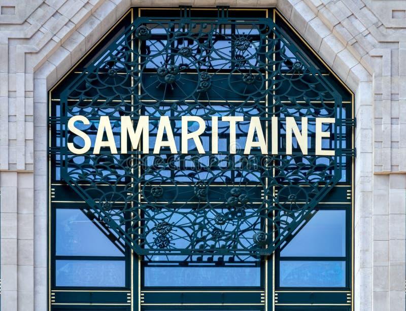 Samaritaine department store shop sign - Paris. Paris, France - April 30, 2019: Samaritaine shop sign. Samaritaine is a popular department store in Paris royalty free stock photo