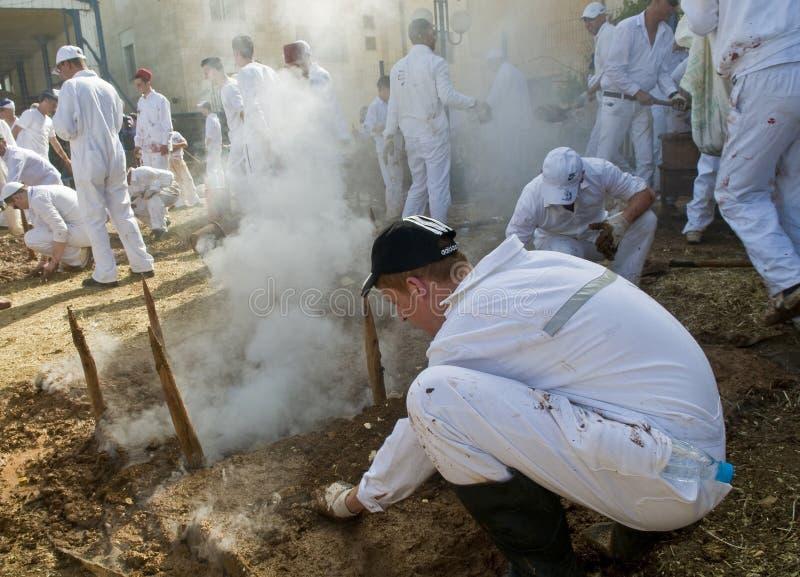 Samaritan Passover sacrifice stock photo