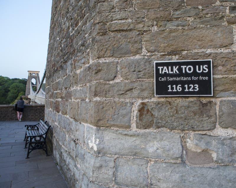 Samaritans Sign on Clifton Suspension Bridge in Bristol stock images