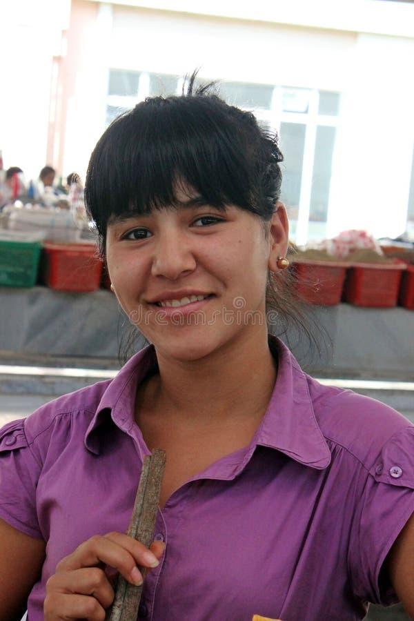 Samarkand bazar, uzbek kobieta fotografia royalty free