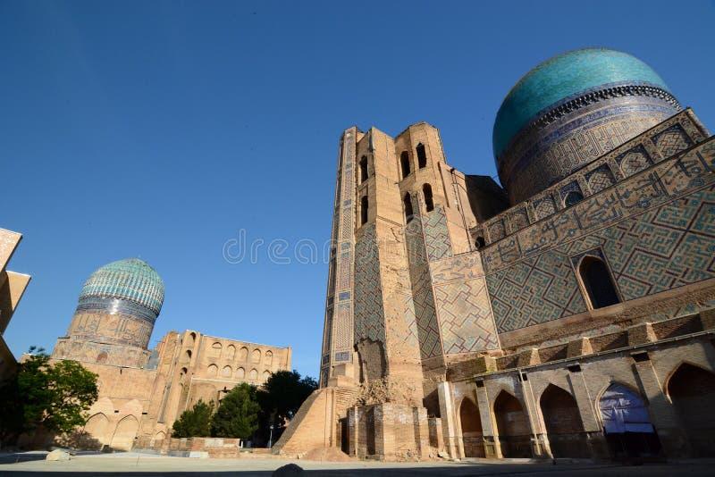 Back view of Bibi-Khanym mosque. Samarkand. Uzbekistan. Samarkand is a city in southeastern Uzbekistan, located on the ancient Silk road; Bibi-Khanym Mosque is stock image