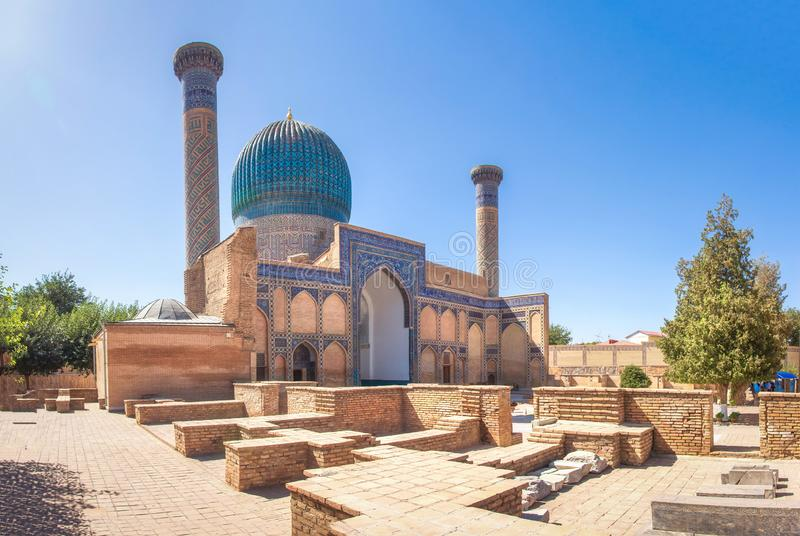 Samarkand landmark. Gur Emir Mausoleum in Samarkand, Uzbekistan tomb of Amir Timur Tamerlan. Mausoleum of the Asian conqueror. Timur. Ancient building exterior stock photography
