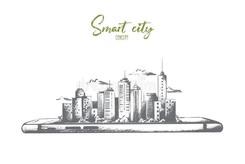 Samart stadsbegrepp Hand dragen isolerad vektor stock illustrationer