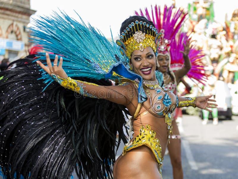 Samba Dancer, carnaval de Notting Hill, Londres imagem de stock