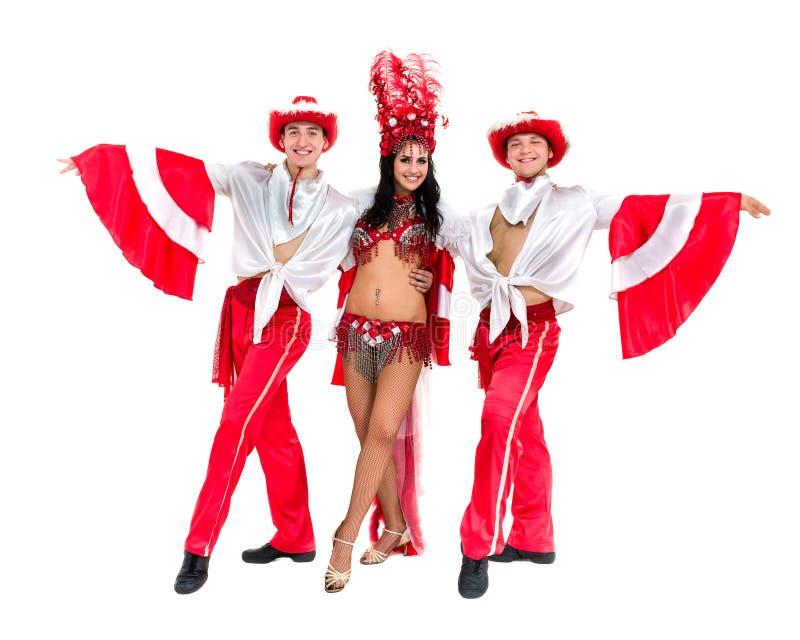 Samba dancer team dancing isolated on white background stock photos