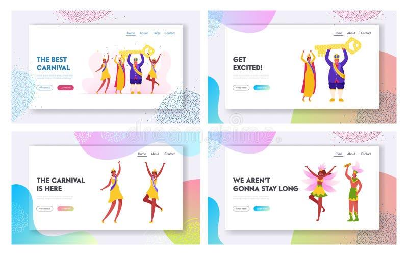 Samba Dancers and King Performing on Rio Carnival Website Landing Set Homem Que Usa Vestimentos Festivos Reais ilustração stock