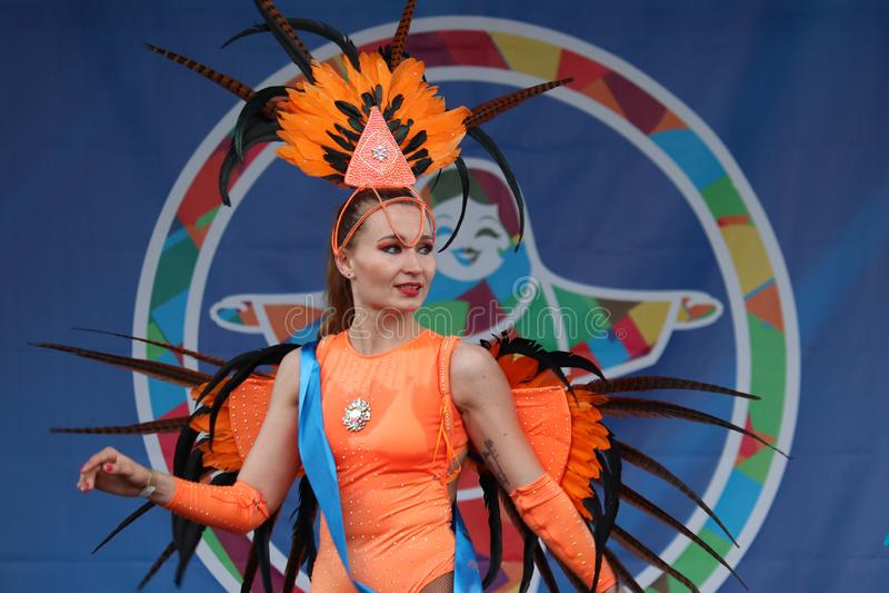Sambadanser op Braziliaans Carnaval stock foto's