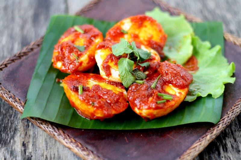 Sambal Telur -马来的传统烹调 图库摄影