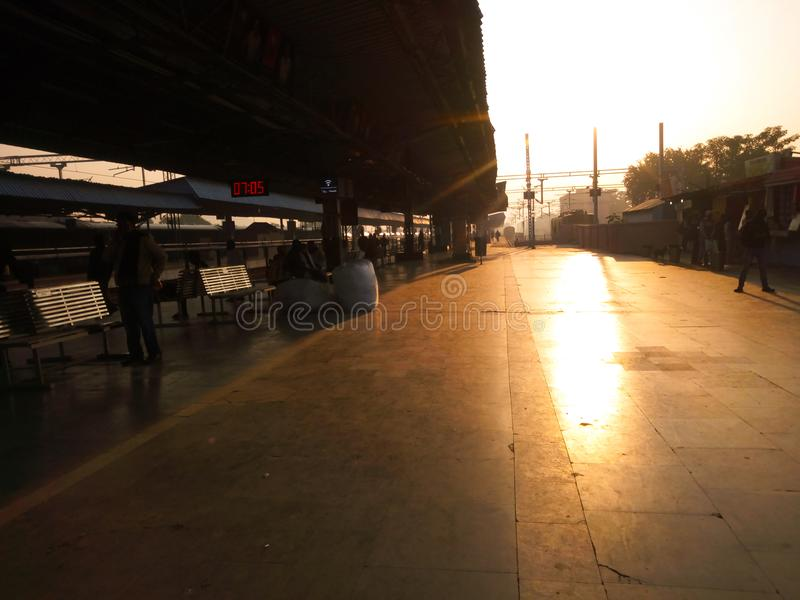 Sambalpur järnvägsstation royaltyfria bilder