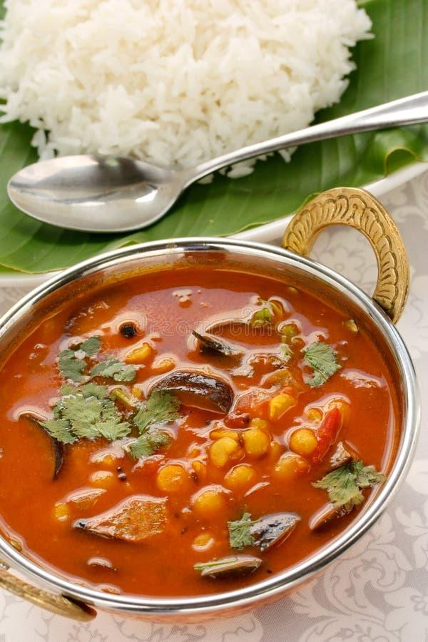 Sambar e riso, cucina indiana del sud fotografie stock
