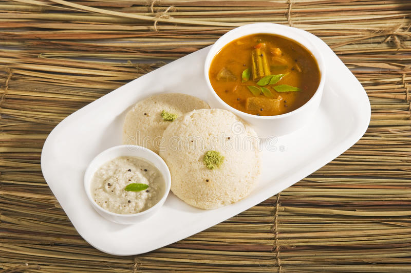 Sambar with Idli,Indian dish stock photo