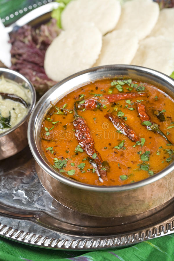 Sambar, linzeschotel. Indisch voedsel. royalty-vrije stock foto