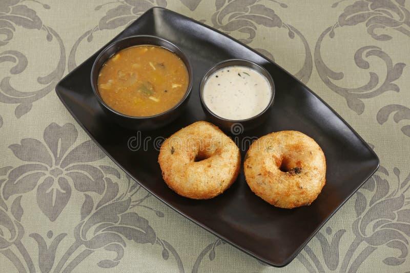 Sambar met Idli-vada met Kokosnotenchutney, Indische Schotel stock fotografie