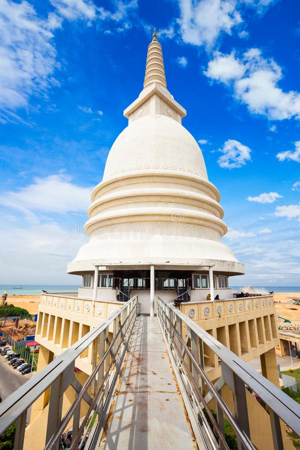 Sambodhi Chaithya寺庙,科伦坡 免版税图库摄影