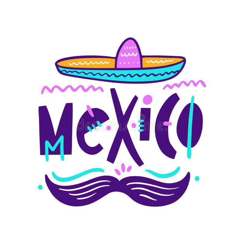 Sambrero i wąsy ilustracja Meksyk literowanie Ręka rysujący styl ilustracja wektor