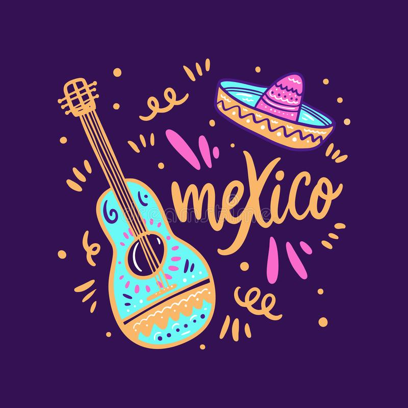 Sambrero och gitarrillustration Utdragen bokst?ver f?r Mexico hand royaltyfri illustrationer