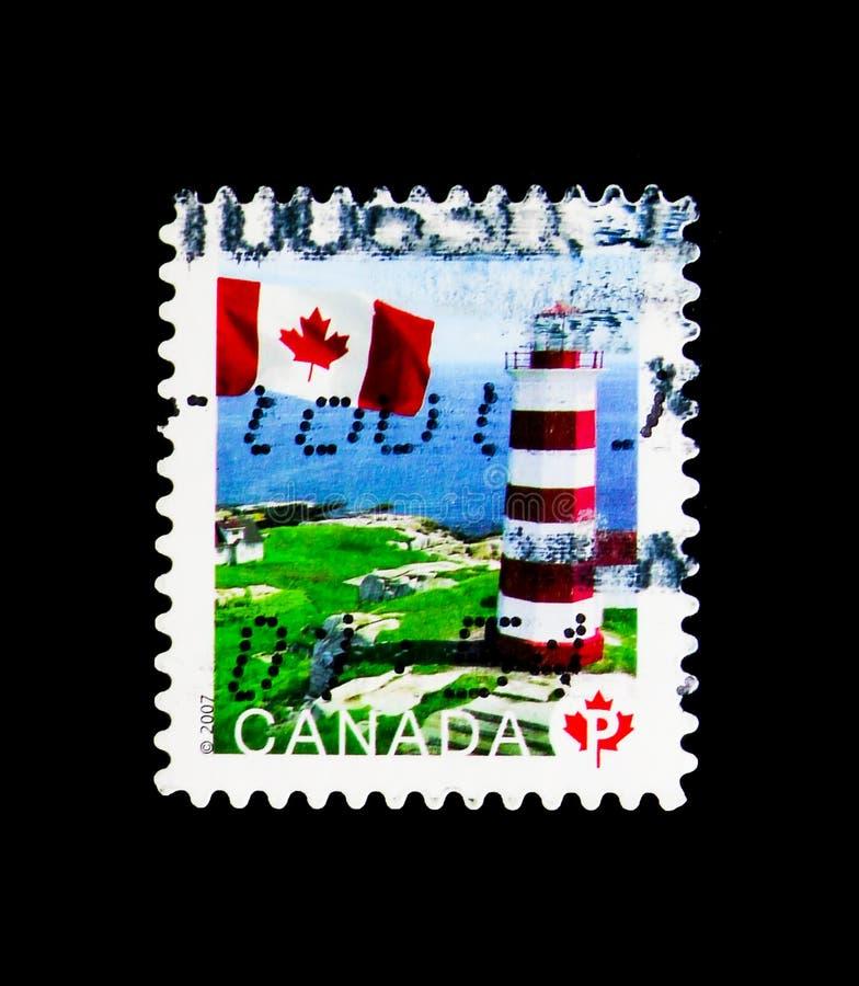 Sambro Island, Nova Scotia, Flag Definitives serie, circa 2007. MOSCOW, RUSSIA - MARCH 18, 2018: A stamp printed in Canada shows Sambro Island, Nova Scotia, Flag stock image