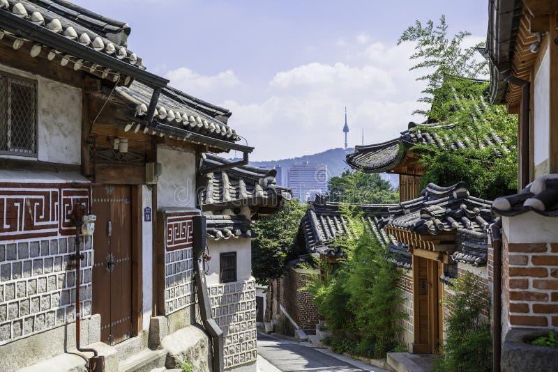 Samcheong-dong grannskap av Seoul, Sydkorea arkivbilder