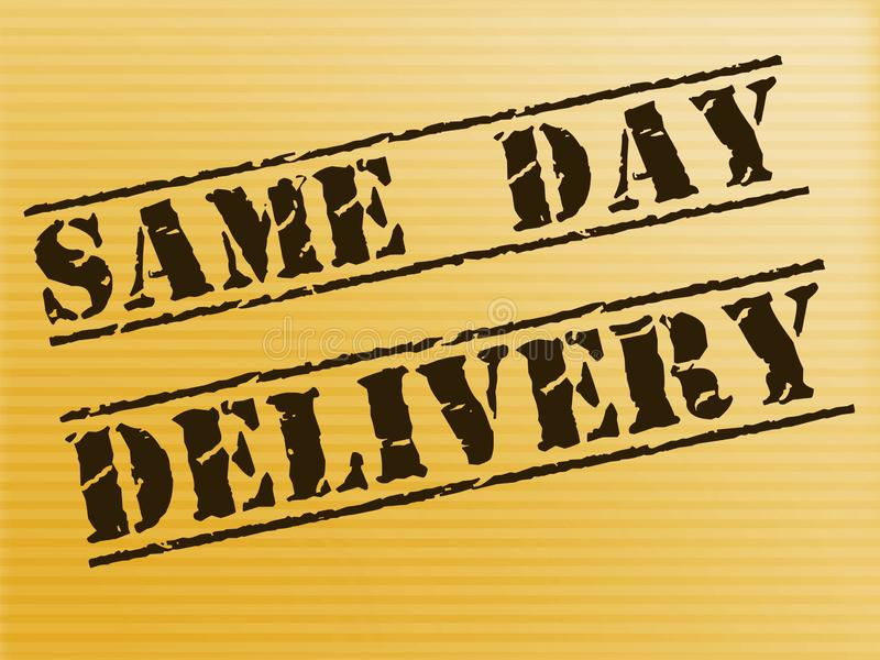 Same-day delivery means 24-hour Express service - 3d illustration. Same-day delivery means 24-hour Express service. Courier company or package transportation stock illustration