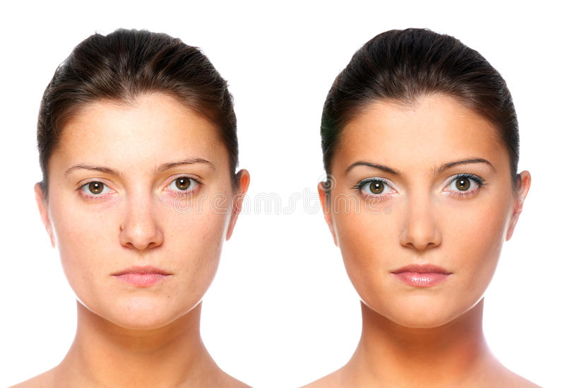 Same or different?. A set of two portraits of the same young woman, one before and the other after putting on make-up stock photo