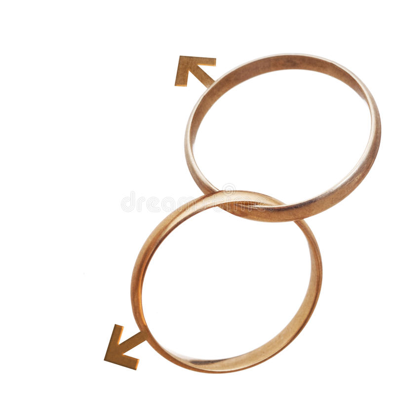Same sex marriage, men, concept. Two wedding rings isolated on w. Same sex marriage, men, concept. Civil rights, equality etc royalty free stock photos
