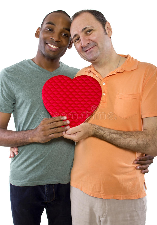 Same Sex Valentines. Younger black male with older Russian gay lover on Valentines Day royalty free stock photos