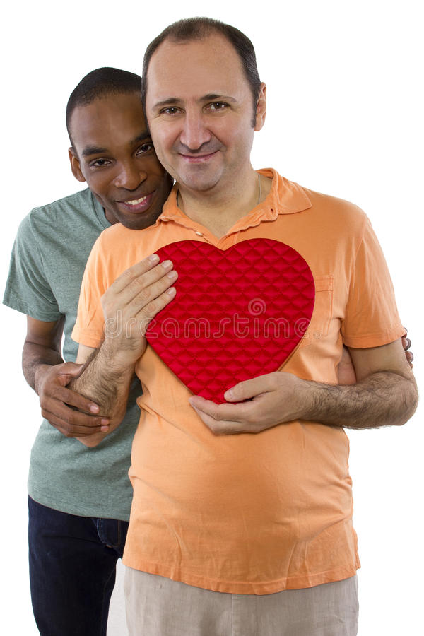 Same Sex Valentines. Younger black male with older Russian gay lover on Valentines Day stock photo