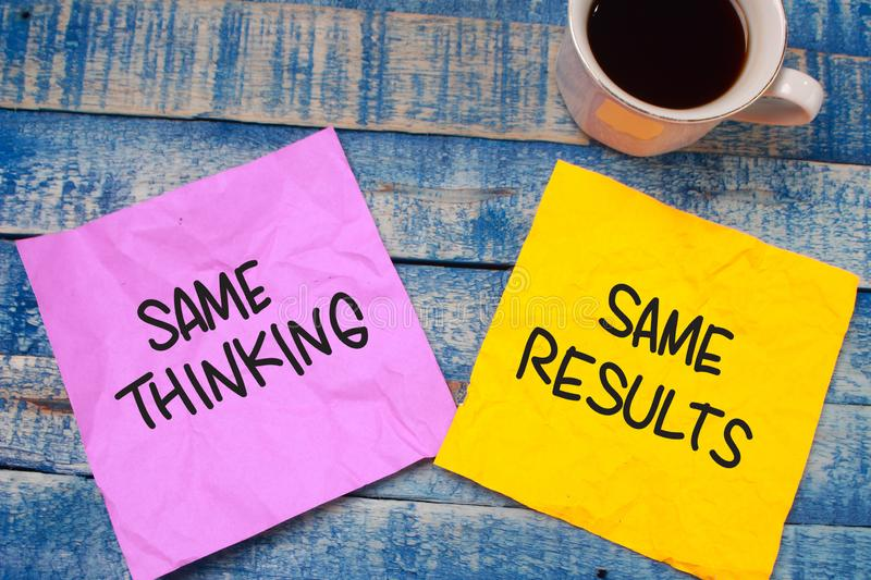 Self Development Motivational Words Quotes Concept, Same Thinking Result. Same thinking same results words letter, written on piece of memo paper, work desk top stock photo