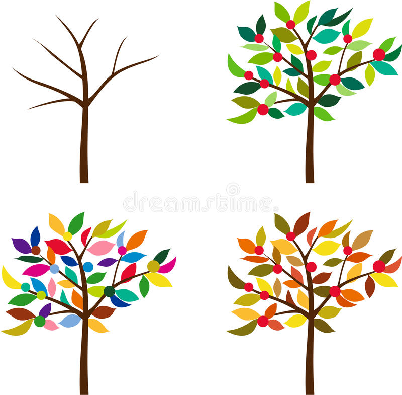 Download Same Tree In Different Seasons Stock Vector - Image: 22531273