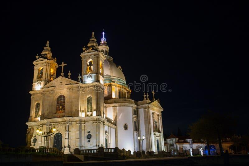 Sameiro Braga. Night view of Basilic of Sameiro Braga, in the north of Portugal stock images