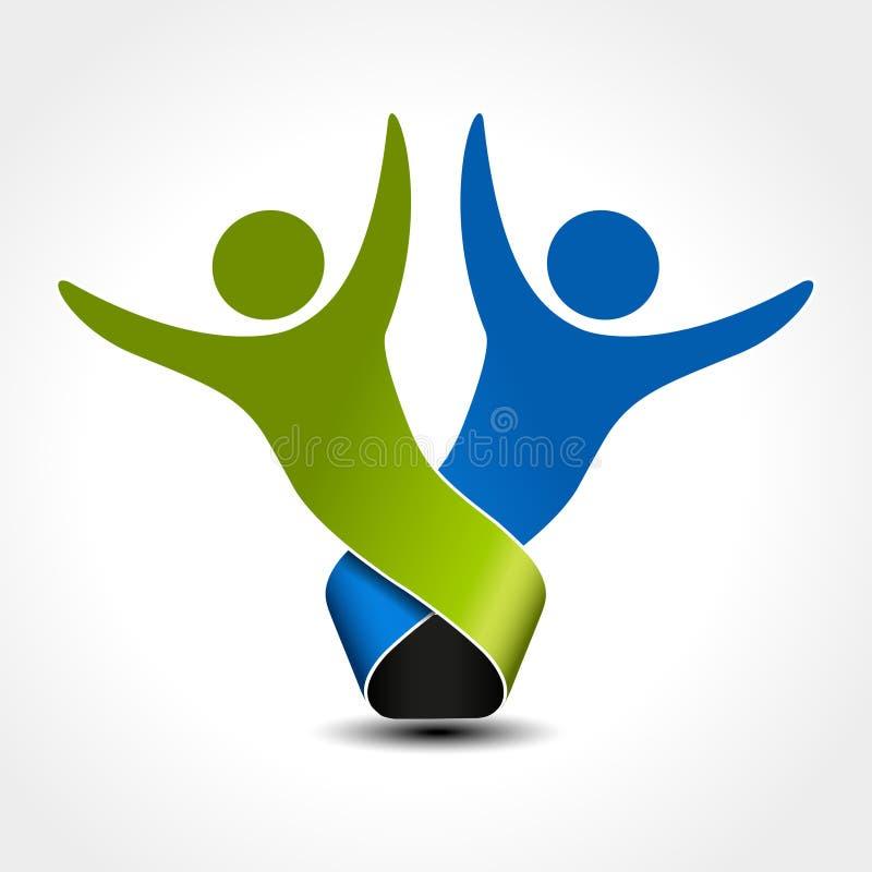 Samen bij aangesloten mensenpictogram Groen en blauw communautair symbool Menselijk teken van twee partners Silhouttes van lichaa royalty-vrije illustratie