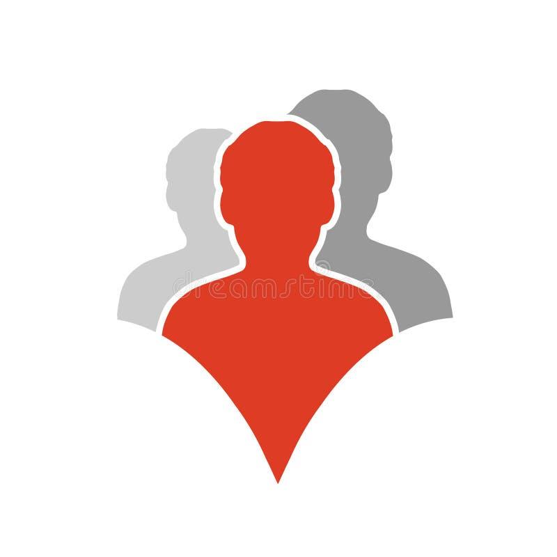 Samen bij aangesloten mensenpictogram Rood en grijs communautair symbool Menselijk teken van drie partners Silhouttes van lichaam stock illustratie